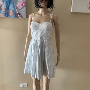 "Aqua size 2 white and silver dress length 34"""